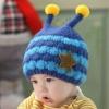 หมวกไหมพรมมีเขา ลายริ้วติดดาว สีสันสดใส สไตล์เกาหลี